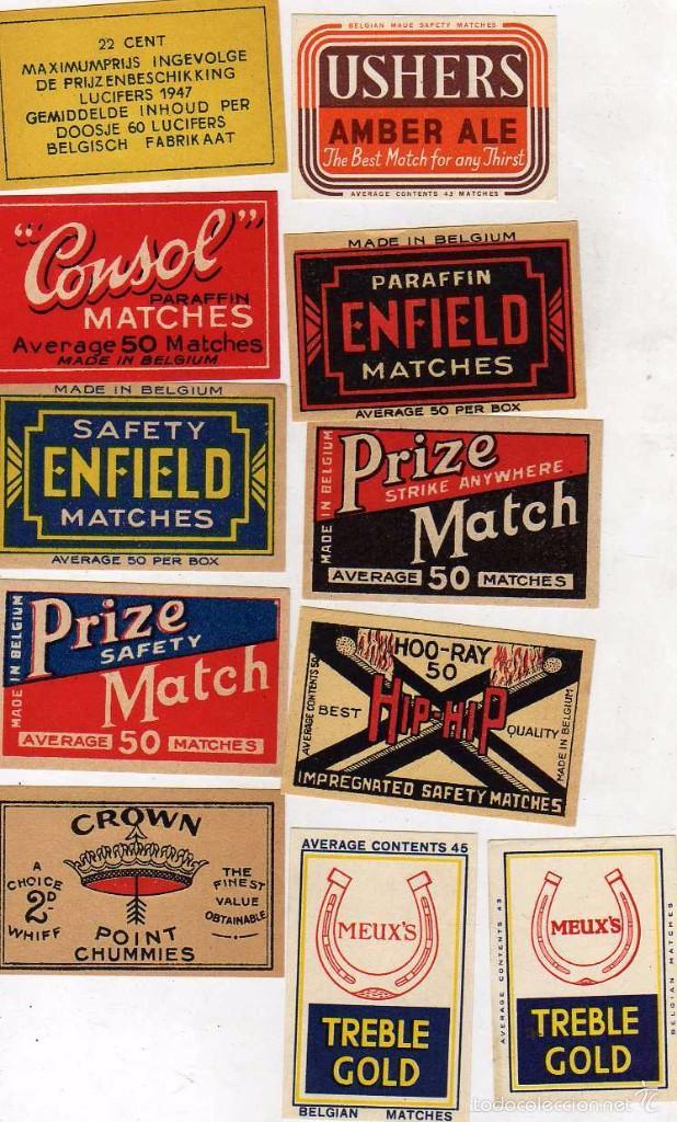 LOTE CROMOS DE CERILLAS BELGICA: CONSOL, PRIZE, FREARY, USHERS, MEUX´S , CROWN, HIP-HIP, ETC (Coleccionismo - Objetos para Fumar - Cajas de Cerillas)