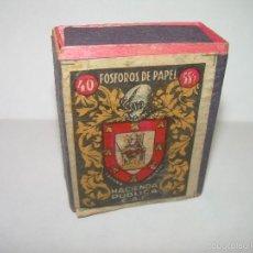 Cajas de Cerillas: ANTIGUA CAJA DE CERILLAS...NUEVA SIN HABER SIDO USADA.... HACIENDA PUBLICA.C.A.F.. Lote 57385890