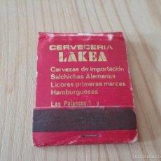 Cajas de Cerillas: CAJA DE CERILLAS CERVECERIA LAKEA. SEVILLA.. Lote 58918485