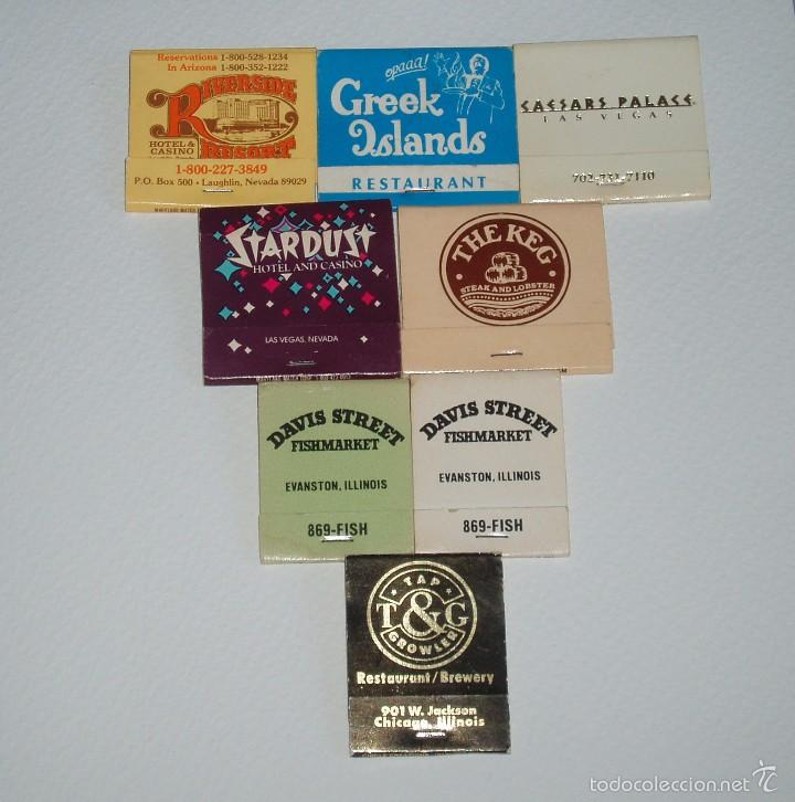 LOTE DE SOBRES DE CERILLAS DE LAS VEGAS, CHICAGO... AÑOS 80. (Coleccionismos - Cajas de Cerillas)