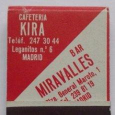 Cajas de Cerillas: ANTIGUO LIBRITO CAJA DE CERILLAS CAFETERIA KIRA / BAR MIRAVALLES, COMPLETA. Lote 62072288