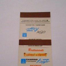 Cajas de Cerillas: CAJA DE CERILLAS RESTAURANTE LAZARILLO DE TORMES HOTEL REGIO SANTA MARTA SALAMANCA. TDKP8. Lote 63300700
