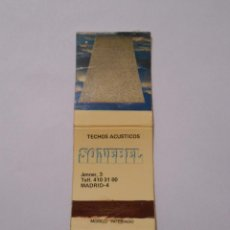 Cajas de Cerillas: CAJA DE CERILLAS TECHOS ACUSTICOS SONEBEL. CALLE JENNER 3 MADRID. TDKP8. Lote 63302800