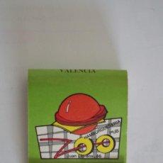Cajas de Cerillas: CARTERITA DE CERILLAS - HAMBURGESERIA PUB ZOO - CON PLANO - VALENCIA - LE FALTAN 2 CERILLAS. Lote 67510057