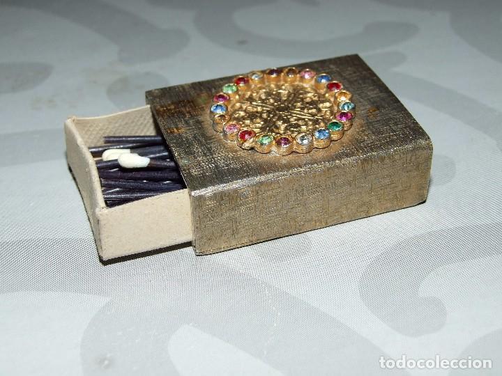 ANTIGUO ESTUCHE METALICO - BRONCE CON PEDRERIA (Coleccionismo - Objetos para Fumar - Cajas de Cerillas)