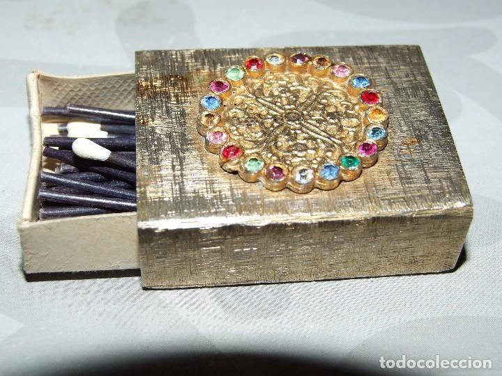 Cajas de Cerillas: ANTIGUO ESTUCHE METALICO - BRONCE CON PEDRERIA - Foto 2 - 67865545