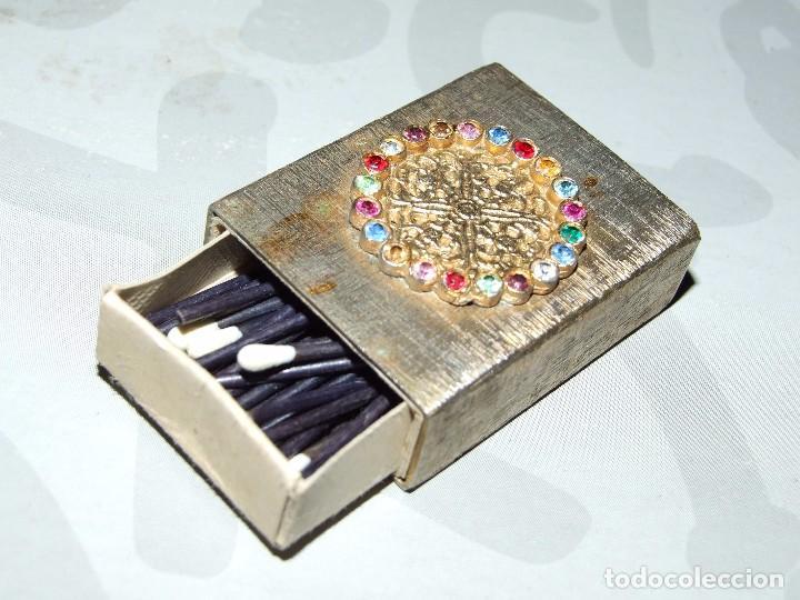 Cajas de Cerillas: ANTIGUO ESTUCHE METALICO - BRONCE CON PEDRERIA - Foto 3 - 67865545