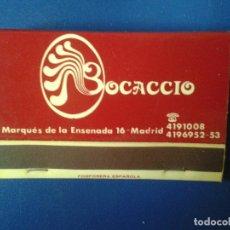 Cajas de Cerillas: CAJA DE CERILLAS TIPO CARTERILLA DE DISCOTECA BOCACCIO MADRID. Lote 76153959