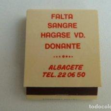 Cajas de Cerillas: ALBACETE HERMANDAD DONANTES DE SANGRE. CARTERITA CAJA DE CERILLAS . Lote 80389413