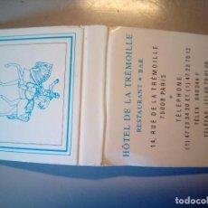 Cajas de Cerillas: CARTERITA CERILLAS HOTEL DE LA TREMOILLE. Lote 81195484