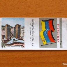 Cajas de Cerillas: BANDERAS Y MONUMENTOS - FOSFORERA ESPAÑOLA 1959 - ETIQUETA CAJA CERILLAS, Nº 40 VENEZUELA. Lote 84290212