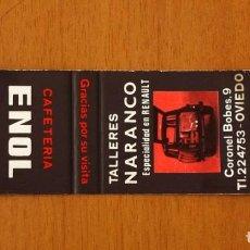 Cajas de Cerillas: CARTERITA CERILLAS - CAFETERÍA ENOL - TALLERES NARANCO, OVIEDO - GENERAL FOSFORERA. Lote 85635112