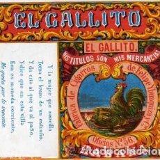 Cajas de Cerillas: ENVOLTORIO CAJA CERILLAS EL GALLITO. FABRICA DE CIGARROS DE FELIPE YBUZQUIZA Y CIA. HABANA CUBA. Lote 86850560