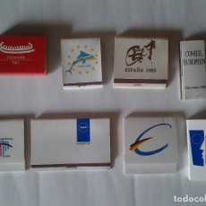 Cajas de Cerillas: EXCEPCIONAL LOTE 8 CAJAS EUROPA PRESIDENCIAS EUROPEAS DE LA UNIÓN EUROPEA CUMBRES EUROPEAS. Lote 88919324
