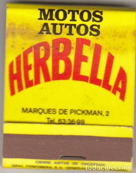 CAJA DE CERILLAS.MOTOS AUTOS HERBELLA.PIRELLI. (Coleccionismo - Objetos para Fumar - Cajas de Cerillas)