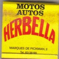 Cajas de Cerillas: CAJA DE CERILLAS.MOTOS AUTOS HERBELLA.PIRELLI.. Lote 89306824