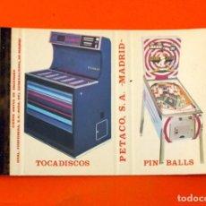 Cajas de Cerillas: CARTERITA DE CERILLAS - PETACO S.A. MADRID - TOCADISCOS - PIN BALLS. Lote 89602412