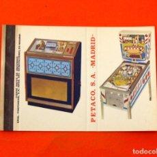 Cajas de Cerillas: CARTERITA DE CERILLAS - PETACO S.A. MADRID - TOCADISCOS - PIN BALLS. Lote 89602484