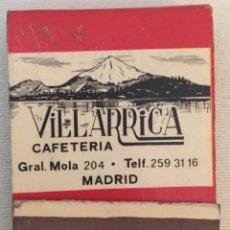 Cajas de Cerillas: CAJA DE CERILLAS - CAFETERIA VILLARRICA - PUBLICIDAD SOBERANO - MADRID - CON CERILLAS. Lote 91615300