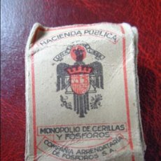 Cajas de Cerillas: ANTIGUA CAJA DE CERILLAS DE HACIENDA PUBLICA CON PUBLICIDAD DE CERVANTES SEGUROS DE BUQUES - AÑOS 40. Lote 95982635