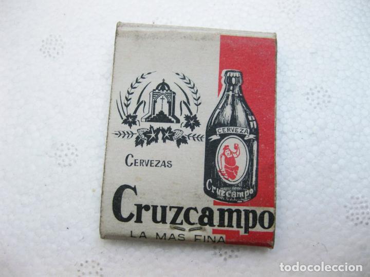 CAJA DE CERILLAS ESPAÑOLA PUBLICITARIA DE CERVEZAS CRUZCAMPO VACIA (Coleccionismo - Objetos para Fumar - Cajas de Cerillas)