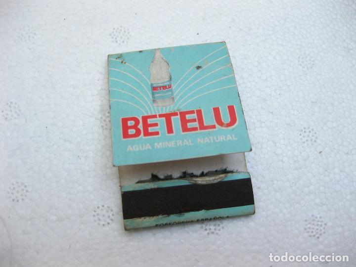 CAJA DE CERILLAS ESPAÑOLA PUBLICITARIA DE AGUA BETELU VACIA (Coleccionismo - Objetos para Fumar - Cajas de Cerillas)