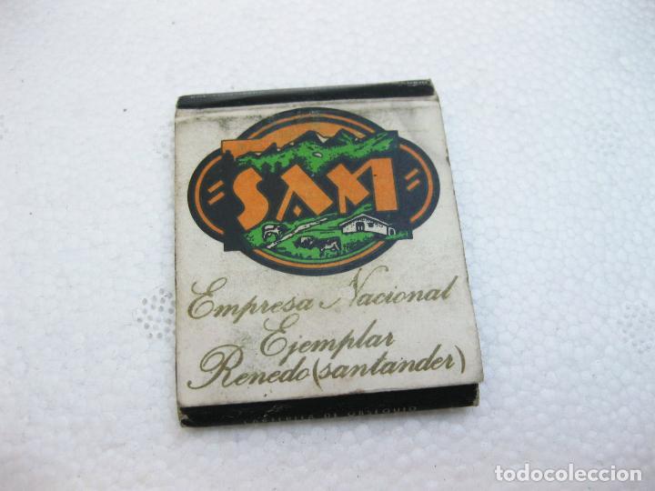 CAJA DE CERILLAS ESPAÑOLA PUBLICITARIA DE LA EMPRESA NACIONAL LECHERA SAM - SANTANDER (Coleccionismo - Objetos para Fumar - Cajas de Cerillas)