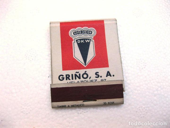 CAJA DE CERILLAS ESPAÑOLA PUBLICITARIA DEL CONCESIONARIO GRIÑÓ - GOGGOMOVIL DKW Y PEUGEOT (Coleccionismo - Objetos para Fumar - Cajas de Cerillas)