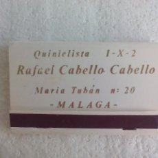 Cajas de Cerillas: RAFAEL CABELLO CABELLO QUINIELISTA. MÁLAGA. 1 X 2. CAJA DE CERILLAS. MATCHBOX ALLUMETTES MATCHES. Lote 98506799