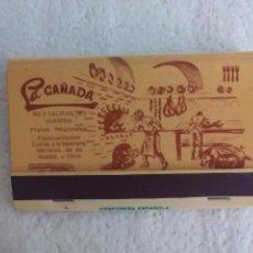 Cajas de Cerillas: LA CAÑADA. RESTAURANTES WAMBA. MADRID. CAJA DE CERILLAS. MATCHBOX ALLUMETTES MATCHES. Lote 98506887