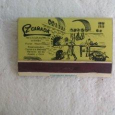 Cajas de Cerillas: LA CAÑADA. RESTAURANTES WAMBA. MADRID. CAJA DE CERILLAS. MATCHBOX ALLUMETTES MATCHES. Lote 98507107