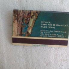 Cajas de Cerillas: ASTILLERO TOMAS RUIZ DE VELASCO S.A.. BILBAO, CAJA DE CERILLAS. MATCHBOX ALLUMETTES MATCHES. Lote 98508671