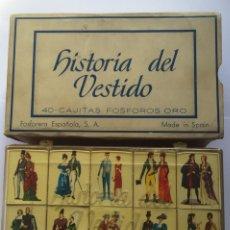 Cajas de Cerillas: ANTIGUA COLECCTION COMPLETA CERILLAS - HISTORIA DEL VESTIDO -1960. Lote 99343098