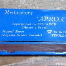 Cajas de Cerillas: SEVILLA, ANTIGUA CAJA DE CERILLAS RESTAURANTE APROA. Lote 102021439
