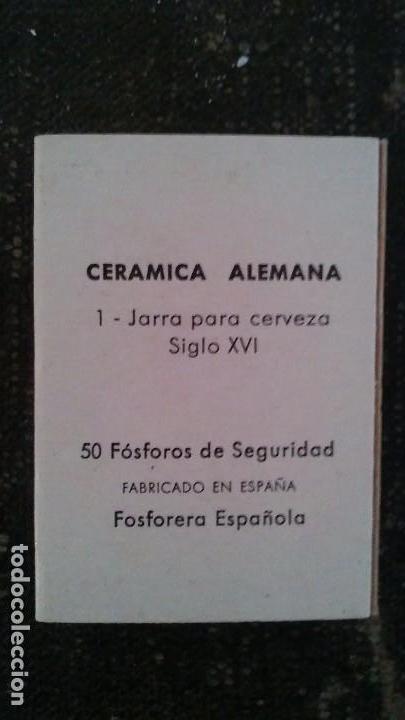 Cajas de Cerillas: Como nueva y completa . Caja de cerillas serie cerámica Alemana n° 1 de fosforera Española. Año 73 - Foto 3 - 104102571