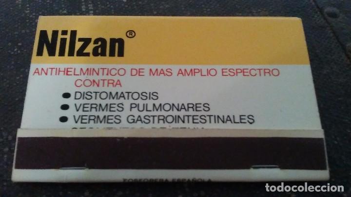 COMO NUEVA 40 FÓSFOROS . CAJA DE CERILLAS MEDICAMENTO NILZAN (Coleccionismo - Objetos para Fumar - Cajas de Cerillas)