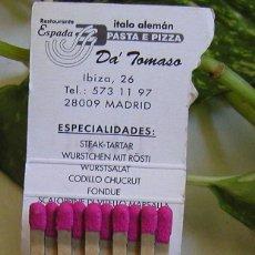 Cajas de Cerillas: CAJA DE CERILLAS RESTAURANTE DA´TOMASO RESTAURANTE ITALO ALEMÁN MADRID DÉCADA 80 SIN USAR. Lote 105683259