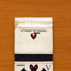 Cajas de Cerillas: CAJA DE CERILLAS - SERIE ABECEDARIO ANIMAL - V, VAMPIRO - FÓSFOROS DEL PIRINEO S.A. AÑOS 70. Lote 106936140