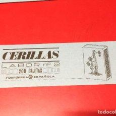 Cajas de Cerillas: ETIQUETA PARA CAJON EMBALAJE 200 CAJITAS CERILLAS LABOR Nº 2 . FOSFORERA ESPAÑOLA. Lote 109313971