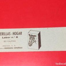 Cajas de Cerillas: ETIQUETA PARA CAJON EMBALAJE 50 CAJITAS CERILLAS HOGAR LABOR Nº 8 . FOSFORERA ESPAÑOLA. Lote 109314323