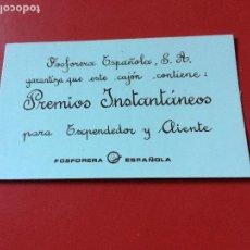 Cajas de Cerillas: PEGATINA PARA CAJON CERILLAS INDICANDO PREMIO PARA EXPENDEDOR Y CLIENTE.FOSFORERA ESPAÑOLA. Lote 109850019
