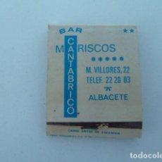 Boîtes d'Allumettes: BAR CANTABRICO (ALBACETE) MARISQUERIA CARTERITA CAJA DE CERILLAS. Lote 111916639