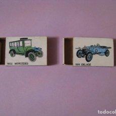 Cajas de Cerillas: 2 CAJAS DE CERILLAS DE SERIE COCHES ANTIGUOS. SIN FÓSFOROS.. Lote 113518155