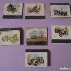 Cajas de Cerillas: 7 CAJAS DE CERILLAS DE SERIE COCHES ANTIGUOS. RECORTADAS.. Lote 113518467