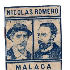 Cajas de Cerillas: CAJA ANTIGUA DE CERILLAS NICOLAS ROMERO. Nº 10. MALAGA. Lote 114972456