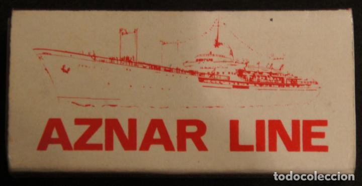 CAJA DE CERILLAS PUBLICIDAD NAVIERA AZNAR. AZNAR LINE. AÑOS 70. (Coleccionismo - Objetos para Fumar - Cajas de Cerillas)