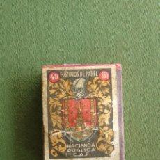 Cajas de Cerillas: CAJA DE CERILLAS VACÍA, 40 FOSFOROS DE PAPEL. HACIENDA PÚBLICA C.A.F. ESCUDO DE ALICANTE.. Lote 115577675