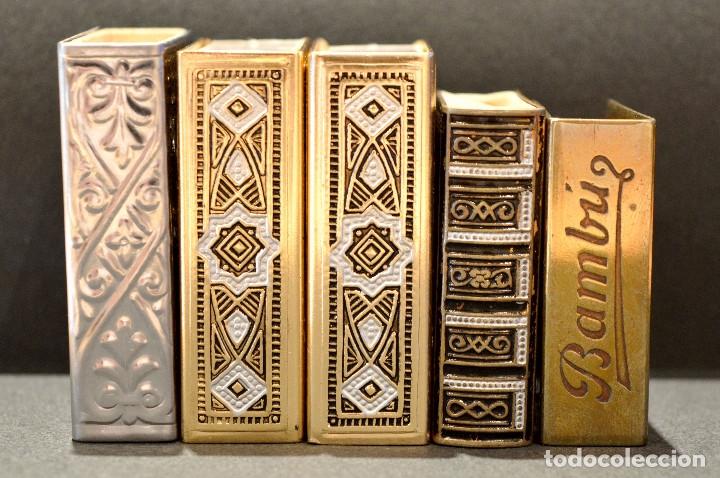 LOTE COLECCION DE 5 CERILLEROS FUNDA CERILLERO PORTA CAJA CERILLAS BRONCE Y LATÓN (Coleccionismo - Objetos para Fumar - Cajas de Cerillas)