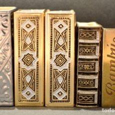 Cajas de Cerillas: LOTE COLECCION DE 5 CERILLEROS FUNDA CERILLERO PORTA CAJA CERILLAS BRONCE Y LATÓN. Lote 59833164