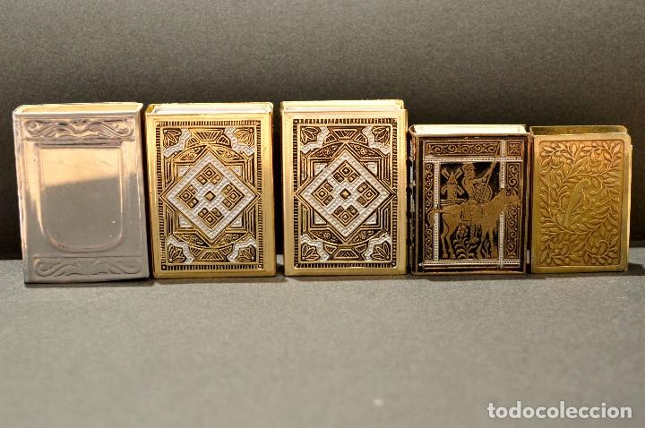 Cajas de Cerillas: LOTE COLECCION DE 5 CERILLEROS FUNDA CERILLERO PORTA CAJA CERILLAS BRONCE Y LATÓN - Foto 2 - 59833164
